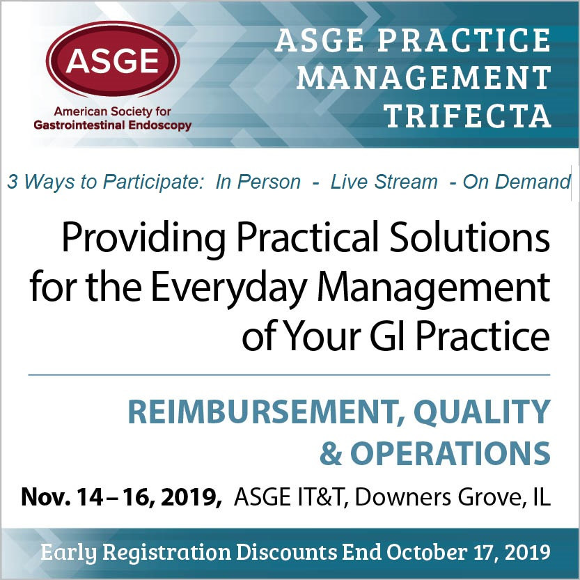 Register for ASGE Practice Managment Trifecta logo