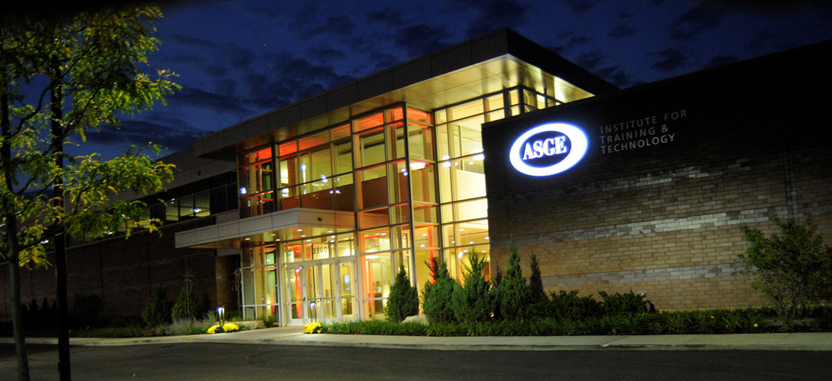 ASGE building exterior at night