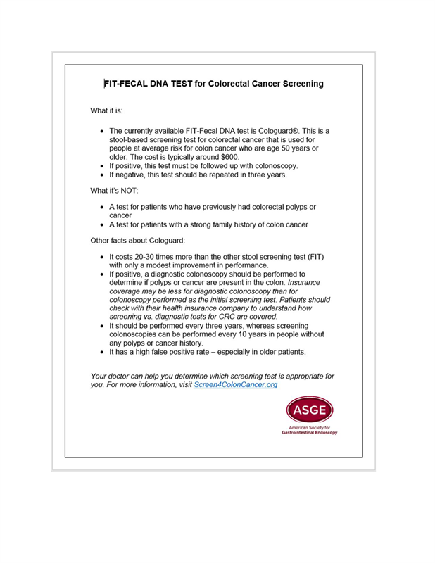 Fit Fecal Dna Test For Colorectal Cancer Screening
